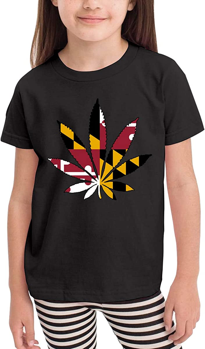 Baby Boys Kids Maryland Flag Weed Leaf Cute Short Sleeve Tee Tops Size 2-6