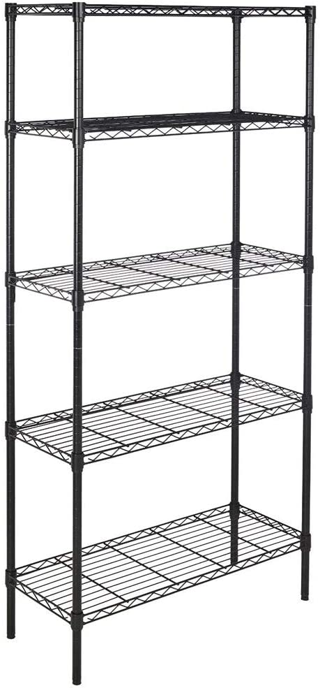 5-Layer Cabinet Organizer Rack, Plastic Coated Iron Shelf Wire Basket Storage Container Countertop Shelf for Kitchenware Bathroom Cans Foods Spice