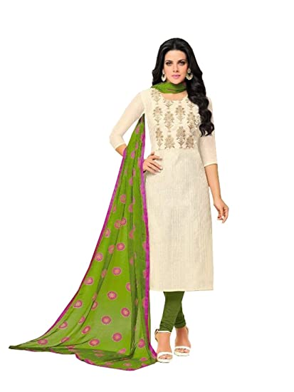 a8d38eadae MONIKA SILK MILL Women's Chanderi Cotton Embroidered Salwar Suit with  Dupatta (Dairy milk -280A, White and Green, Free Size): Amazon.in: Clothing  & ...