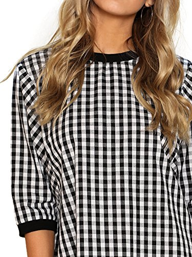 Black Trim White Women's Gingham Round Half Neck Dress Ribbed Sleeve DIDK PYnzqSRwvv
