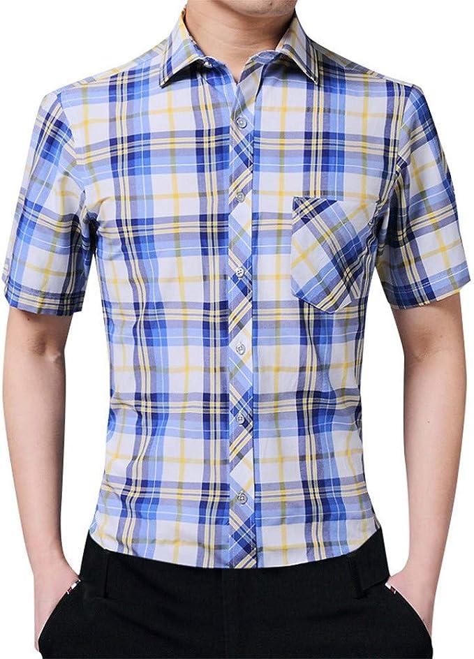 MMUJERY blusas hombre manga corta Ocio de negocios Camisa de Manga Corta a Cuadros Hombre Camisa Manga Corta Slim Fit Botón Bolsillo Casual Hombre Camisa a Cuadros con Dobladillos en Las Mangas: