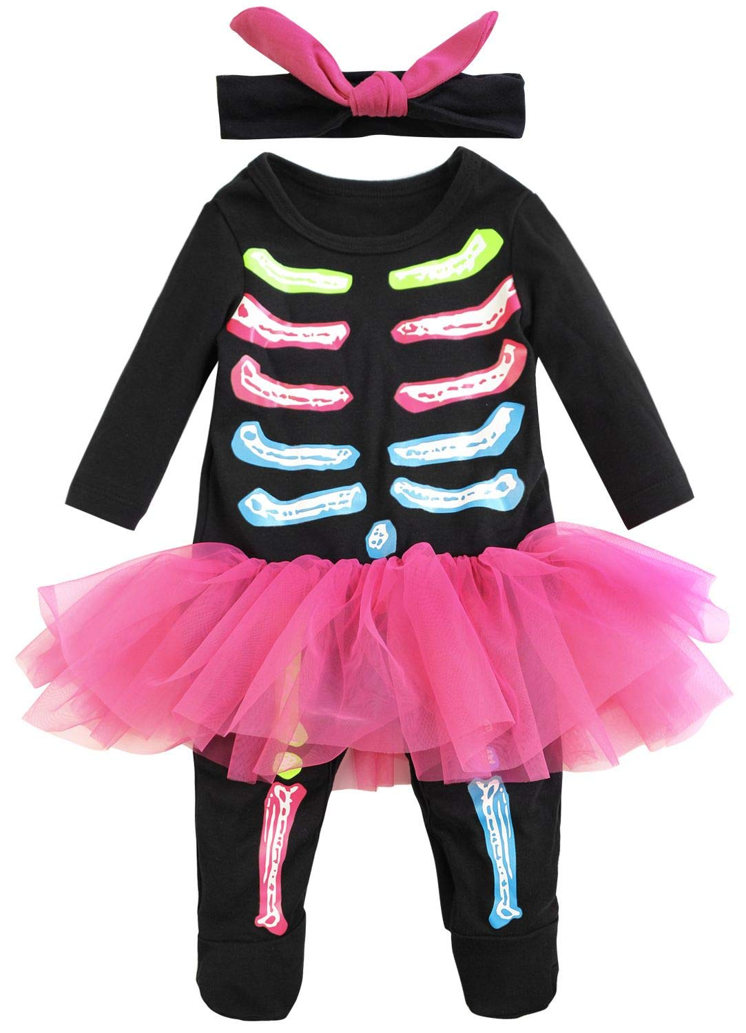 FANCYINN Infant Baby Girl' 1st Halloween Costume Bone Skull Tutu Romper with Headband 80