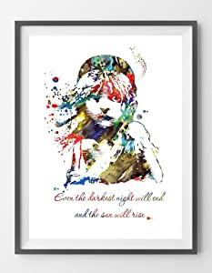 MalertaART Les Miserables Victor Hugo Quote Watercolor Print Even The Darkest Night Will end and The Sun Will Rise Cosette Poster Wall Decor Gift 23 Framed Wall Art