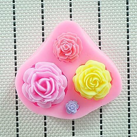 Molde de silicona 3D diseño de flores de rosas. Para pasta de azucar, fondant, chocolates: Amazon.es: Hogar