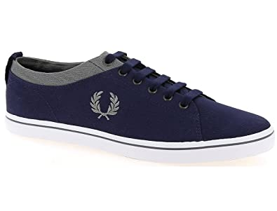 Baskets Fred Perry Hallam Twill Falcon Grey Carbon Blue GT8bIHs