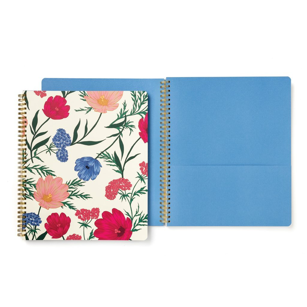 Kate Spade New York Women's Blossom Large Spiral Notebook, White/Red/Multi, One Size
