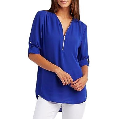 bc34ea396006 Longra Chemisier Femme Fille Chic Uni Col V Manches Longues Zipper Tee  Shirt Femme Élégant Loose