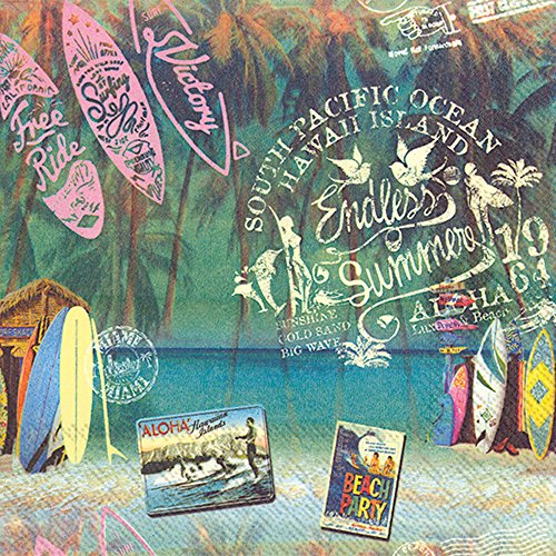 Celebrate the Home Vintage Tropical 3-Ply Paper Luncheon Napkins, Endless Summer, 20-Count