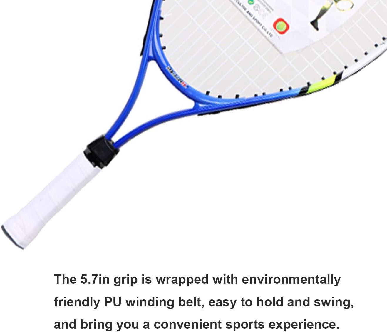 Junior Raqueta de Tenis Moldura de Una Pieza con Bolsa de Transporte para ni/ños Unisex Achort Raqueta de Tenis para ni/ños y j/óvenes Azul