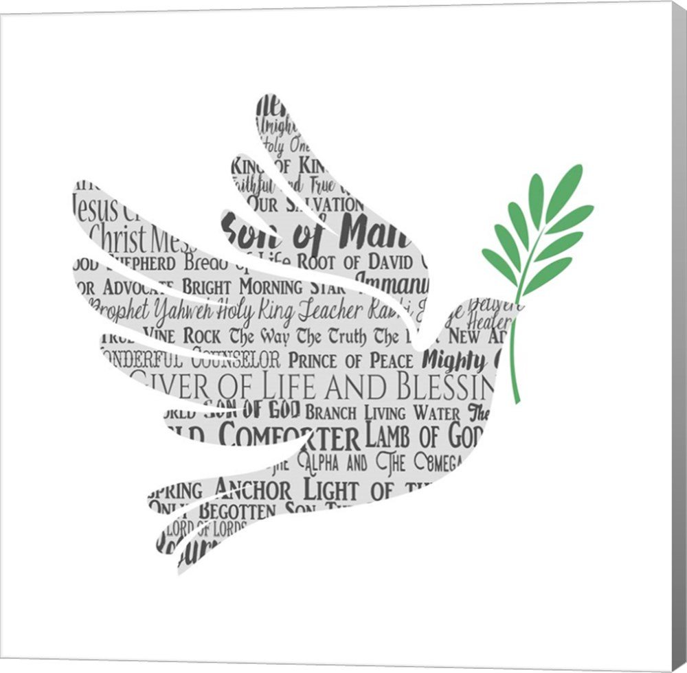 Names of Jesus Dove Silhouette White by Inspire Me Canvas Art Wall Picture, Gallery Wrap, 37 x 37 inches by Great Art Now