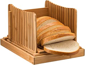 Foldable Nature Bamboo Bread Slicer for Homemade Bread,Compact Bread Slicing Guide with Crumb Catcher Tray,Adjustable 3 Thickness Loaf Bread Cutting Board for Bagel Sandwich Toast Slicer