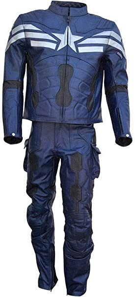Captain America Winter Soldier Biker 100/% Cow Leather Armor Protection Jacket