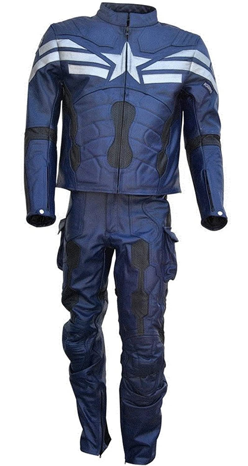 Men's Captain America Real Leather Blue Winter Soldier Motorcycle Suit - DeluxeAdultCostumes.com