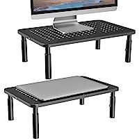 Soporte para monitor para computadora, portátil, impresora, portátil y visualización plana con plataforma metálica…