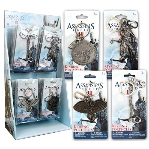(Official Assassins Creed Pewter Keyring Gift Set of 4 / Includes: Tomahawk , Connor , Eagle & Logo Keychains)