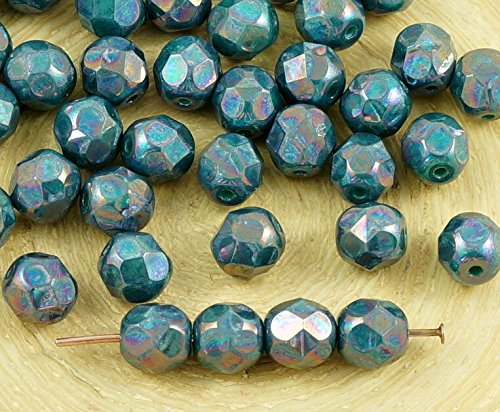 40pcs Nebula Purple Opaque Turquoise Green Round Faceted Fire Polished Spacer Czech Glass Beads 6mm