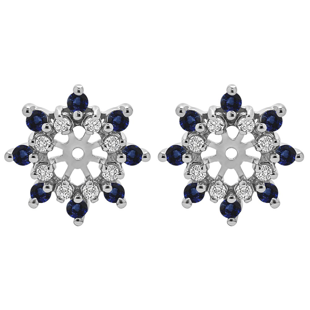 0.96 ct. Diamonds (G-H,I2-I3) and Sapphire Genuine Sapphire and Diamond Cluster Style Earring Jacket in Sterling Silver (0.96 ct. twt.)
