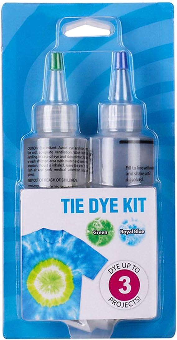 Tie Dye Kit de tinte para camisas, 2 colores, pigmento teñido con bandas de goma para ropa de bricolaje, colorida, bolsa, bufanda, no tóxica, tintes ...