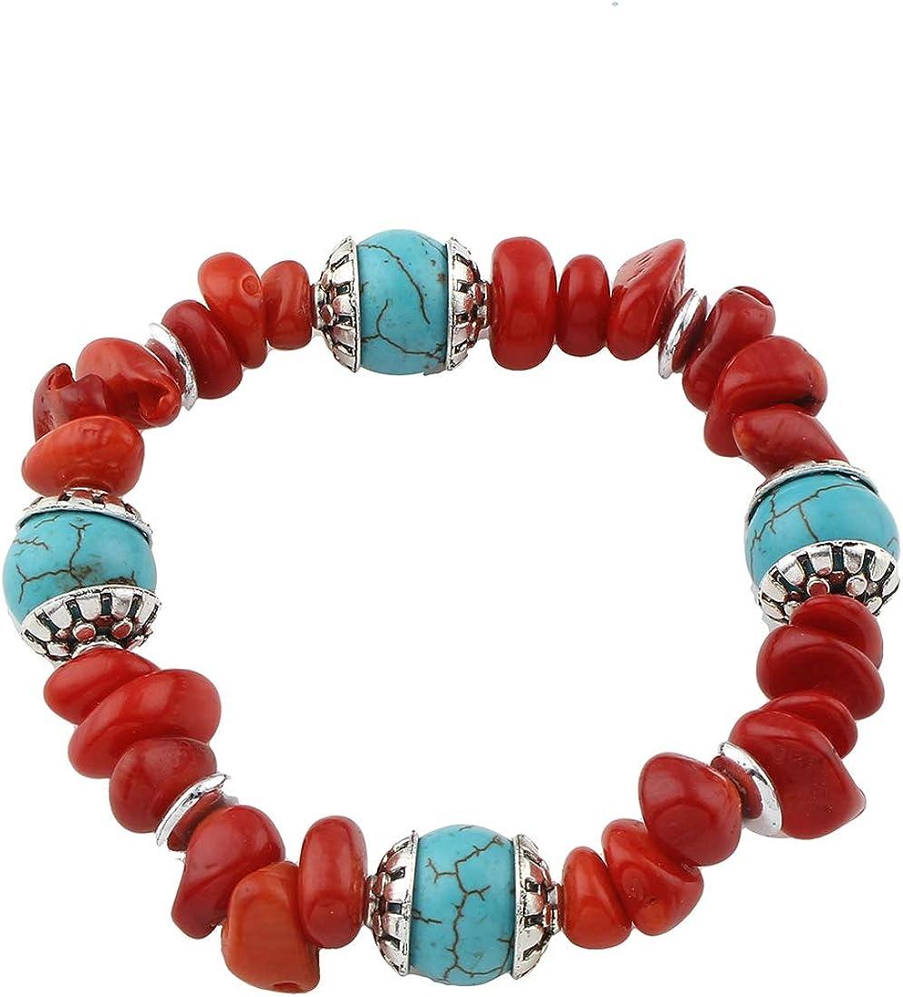TreasureBay FAB - Pulsera de cuentas elásticas de coral rojo natural y turquesa para mujeres y niñas