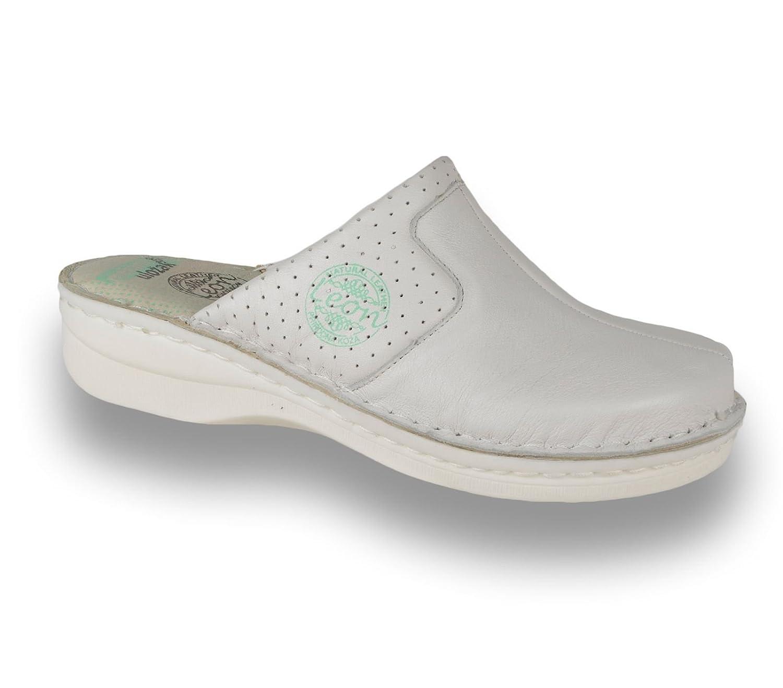LEON 360 Zuecos Zapatos Zapatillas de Cuero para Mujer 39 EU|Blanco