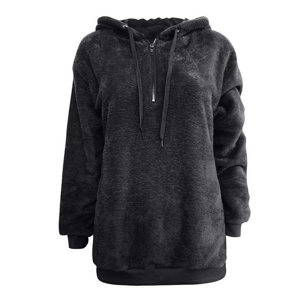 Goodtrade8 Clearance Winter Women Hooded Sweatshirt Coat Warm Wool Zipper Cotton Pullover Sweater Outwear with Pockets (3XL, Dark Gray)