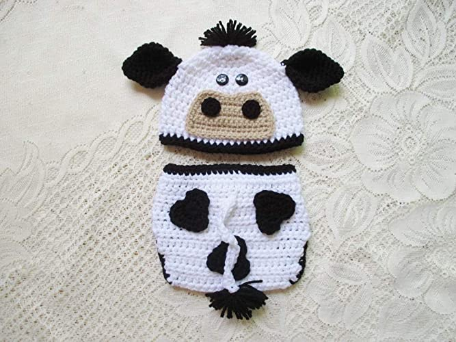 Amazon.com  Crochet Baby Cow Hat and Diaper Cover Set - Baby Photo Prop -  Baby Shower Gift - Available in 0 to 24 Months  Handmade caf190de8b9d