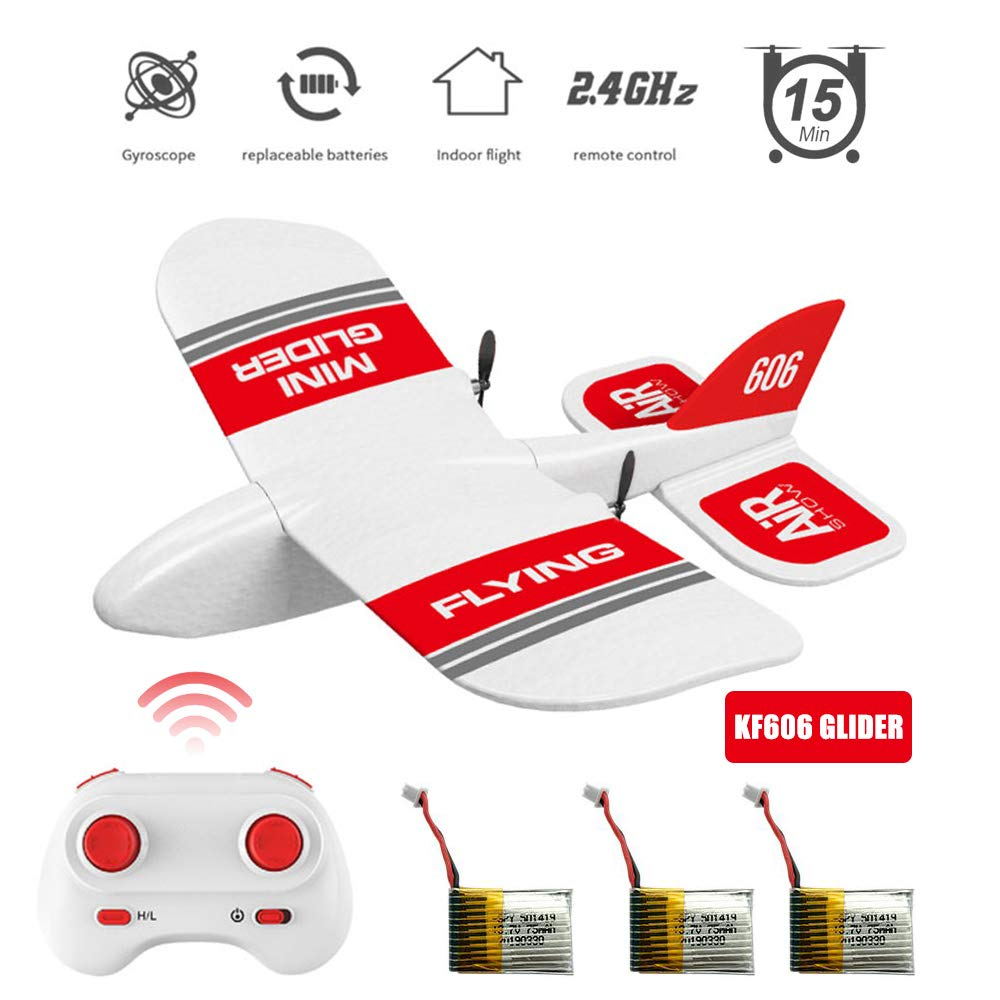 KF606 Mini Glider 2.4Ghz RC Airplane Flying Aircraft Toy Built-in Gyro 3 Replaceable Batteries 45 Minutes Indoor Outdoor Flight Time EPP Foam Plane Gifts Child's Paper Plane (KF606 Glider + 3 Battery)