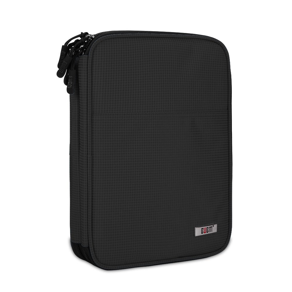 Gadget Accessories Bag for iPad PU Black Charging Cables BUBM Electronic Accessories Carry Bag Double Layer Travel Case for Cables Power Bank and External Hard Drives SD Cards Data Cables