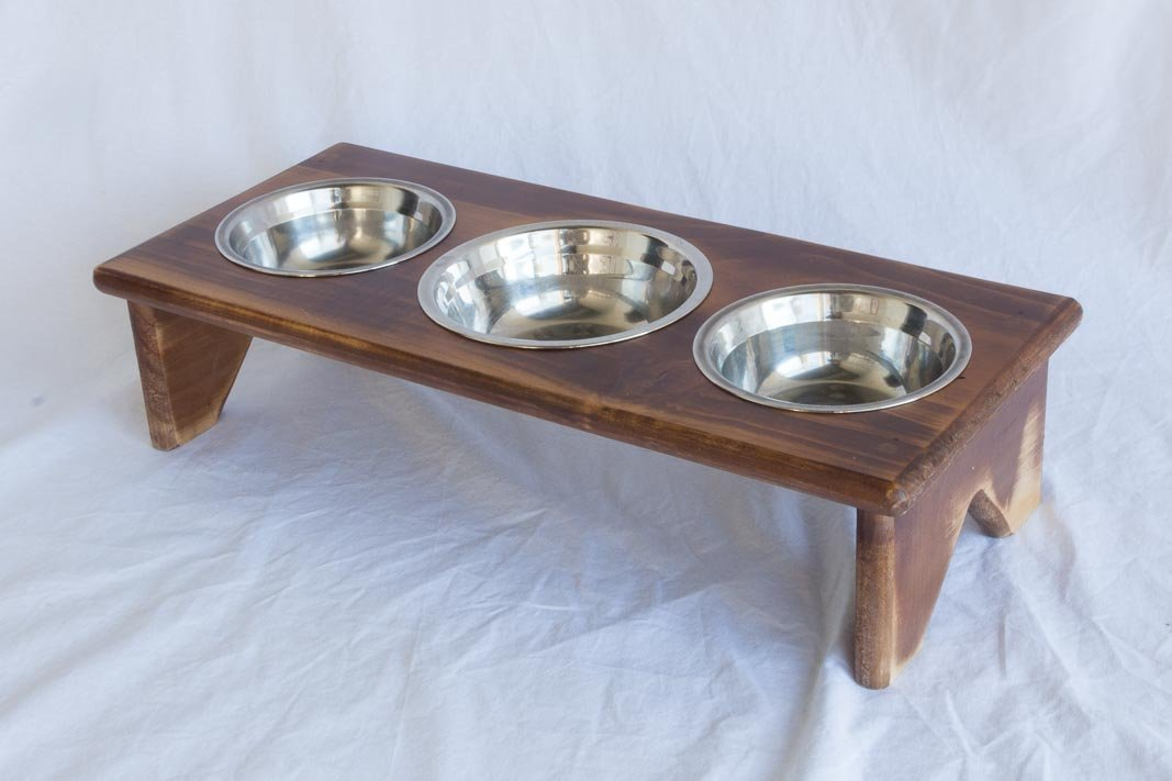 Pet Bowl Stand - Wooden - 3 Bowls – Bigger Middle Bowl - Cat Bowls or Dog Bowls by Fabian Woodworks