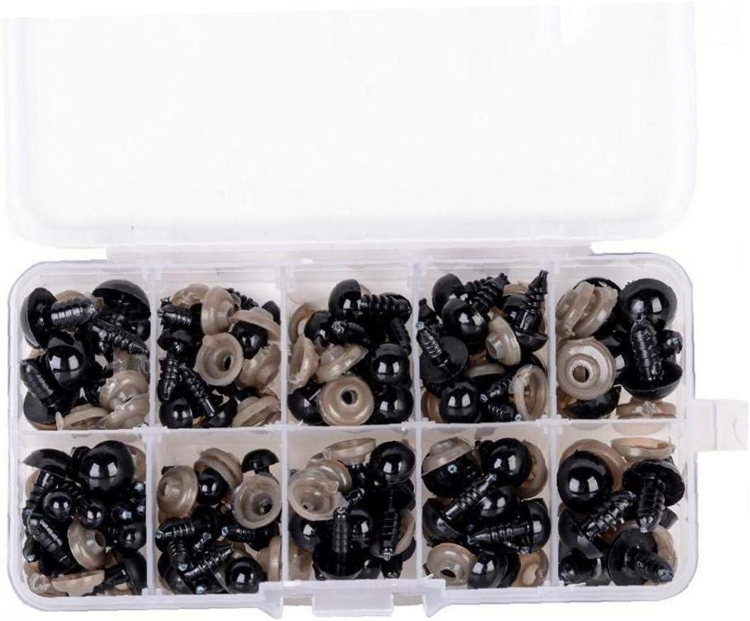 Set Durable /« s s/écurit/é en Plastique Noir des Yeux Yeux pour Teddy en Peluche Jouets Marionnettes Artisanat Accessoires 6-12mm AMOYER 100pcs