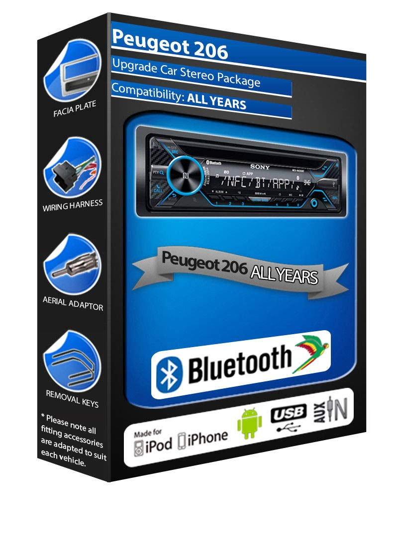 Peugeot 206 CD player, Sony MEX-N4200BT car stereo Bluetooth Handsfree USB AUX In Car Emporium