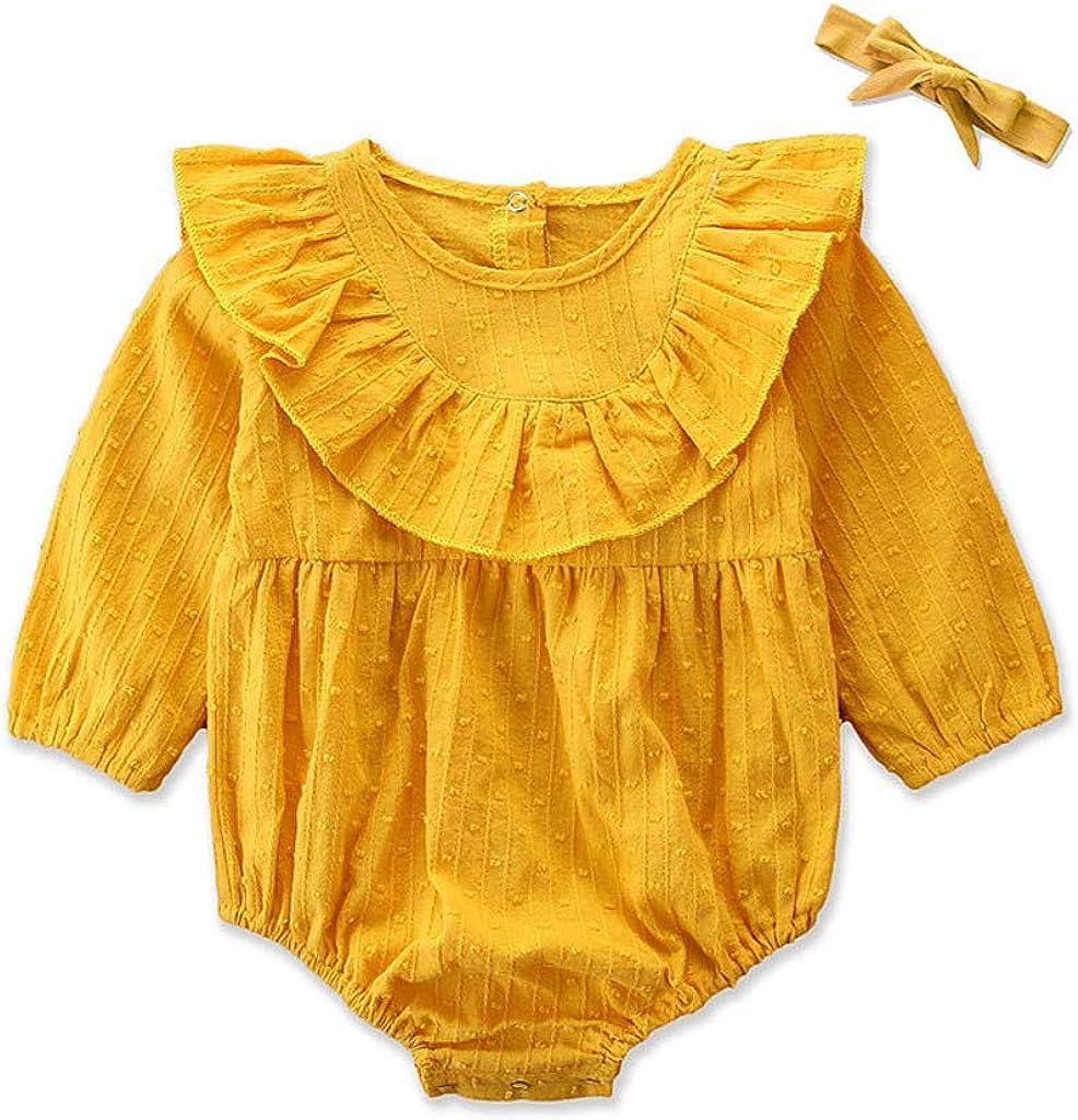 KUDICO Nouveau-n/é de V/êtements B/éb/é Infantile Fleurs Col Combinaisons Couleur Unie Festival Mariage Filles Romper T-Shirts Automne Hiver