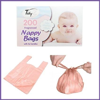 Caja de 200 bolsas de pañales desechables bebé perfumada Aroma sacos con mango Talla:24