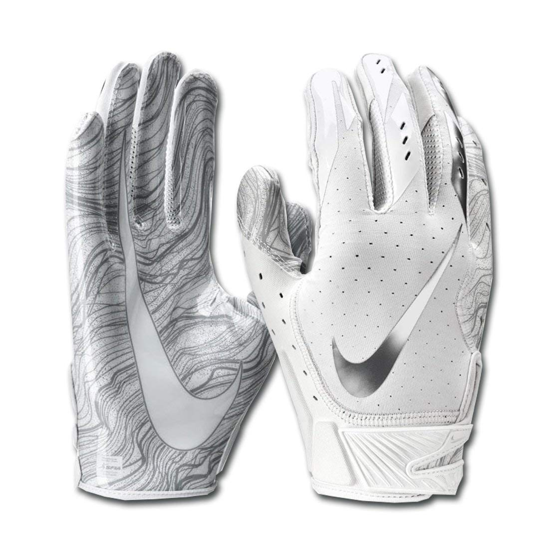 Nike Men's Vapor Jet 5.0 Football Gloves White/Chrome Size Small