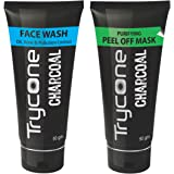 Trycone Activated Charcoal Peel Off Mask - 50 Gm and Face Wash - 50 Gm, Combo Pack of 2