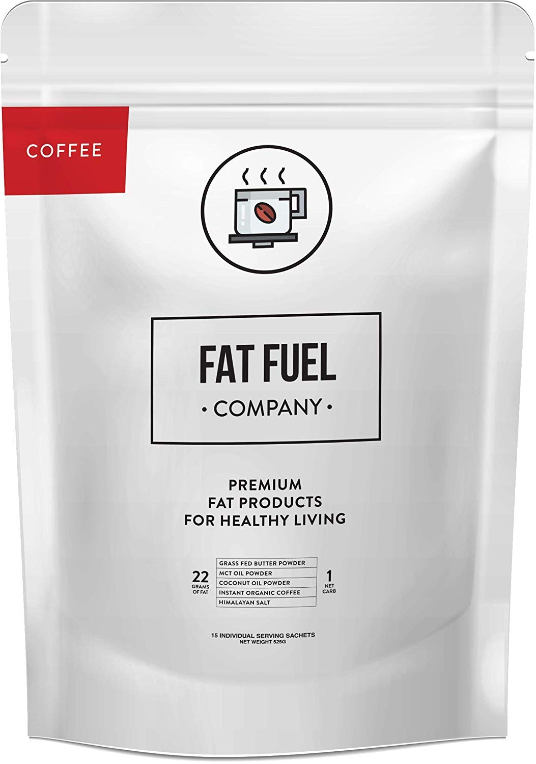 Instant Ketosis Coffee | With Organic Grass Fed Butter, MCT Oil, Coconut Oil Powder & Himalayan Salt | Brain & Energy Booster | Ready-Mix Powder for Ketosis | 15 Individual Packets by The Fat Fuel Company