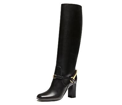 a08002f034d Gucci Boots Tall Tess Horsebit Detail Black Leather Lifford Mid Heel (IT  39.5   US