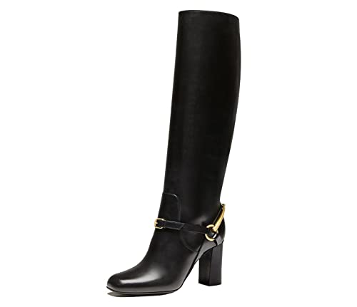 e3d3bf992 Gucci Boots Tall Tess Horsebit Detail Black Leather Lifford Mid Heel (IT 34    US