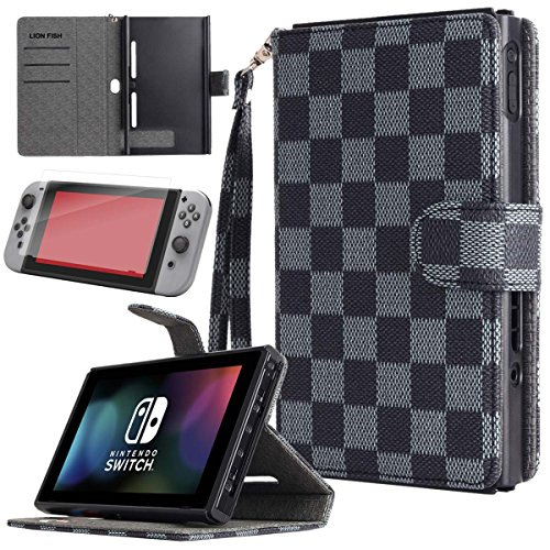 LION FISH Nintendo Switch Case with Tempered Glass Screen Protector,Nintendo Switch Case with Stand,Premium PU Leather Wallet Flip Case Travel Cover with Card Holder for Nintendo Switch 2017. (Black)