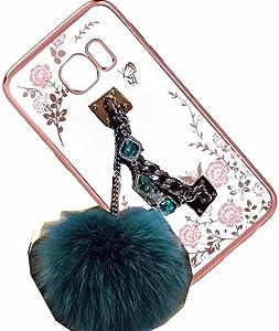 Galaxy S7 Edge Case,Rhinestone Hand Chain Holder Bracelet Fur Ball [Secret Garden] Flower Diamonds Frame Plating Bumper Soft Flexible TPU Transparent Skin Case for Samsung Galaxy S7 Edge(Holder Blue)