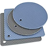 Silicone Trivet Mats, Silicone Pot Holders for Hot Pan and Pot Pads. Heat Resistant Counter Mats for Tables, Countertops…