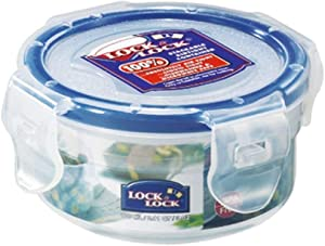LockandLock Round Food Container with Leak Proof Locking Lid, Short, 0.4-Cup, 3 Fluid Ounce
