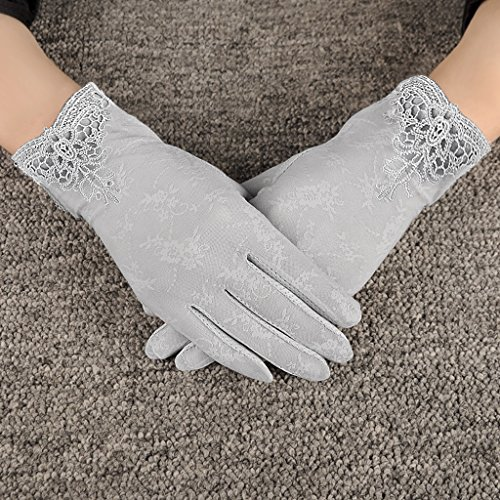 Women Sunscreen Gloves Sun Gloves Fishing Golf Driving Sunscreen Gloves Stretch Anti-slip Touch Screen Sun UV Protection Lace Gloves Tea Party Gloves Wedding Gloves Summer Lady Screentouch Gloves ()