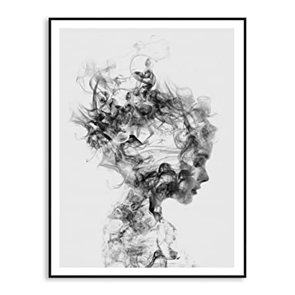 Taottao Abstract Black White Woman Canvas Print Art Painting