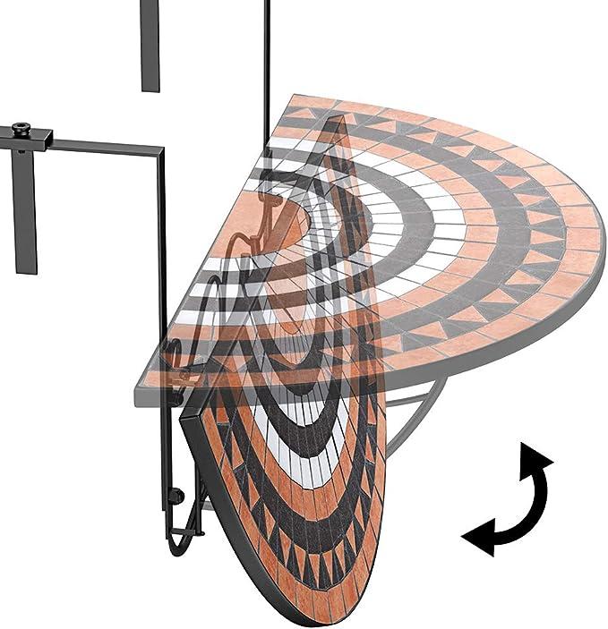 Interior Balkonh/ängetisch Balkontisch Balkon H/ängetisch klappbar 60 x 40 cm Schwarz Beistelltisch