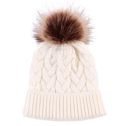 Amazon.com   Mother   Baby Newborn Winter Hats Knitted Wool Hemming ... c85bbb007f5