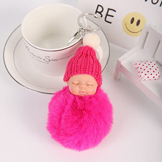 Bluelans Plush Faux Fur Ball Pom Pom Cute Sleeping Baby Handbag Charm Car Keychain at Amazon Womens Clothing store: