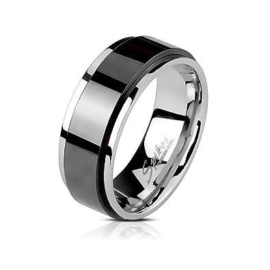 8385aafe86da Anillo antiestrés para hombre negro y plateado en acero inoxidable - Anillo  rotativo giratorio plata y