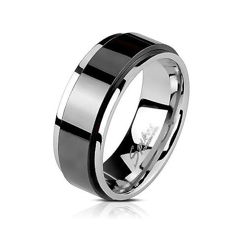Anillo antiestrés para hombre negro y plateado en acero inoxidable - Anillo rotativo giratorio plata y