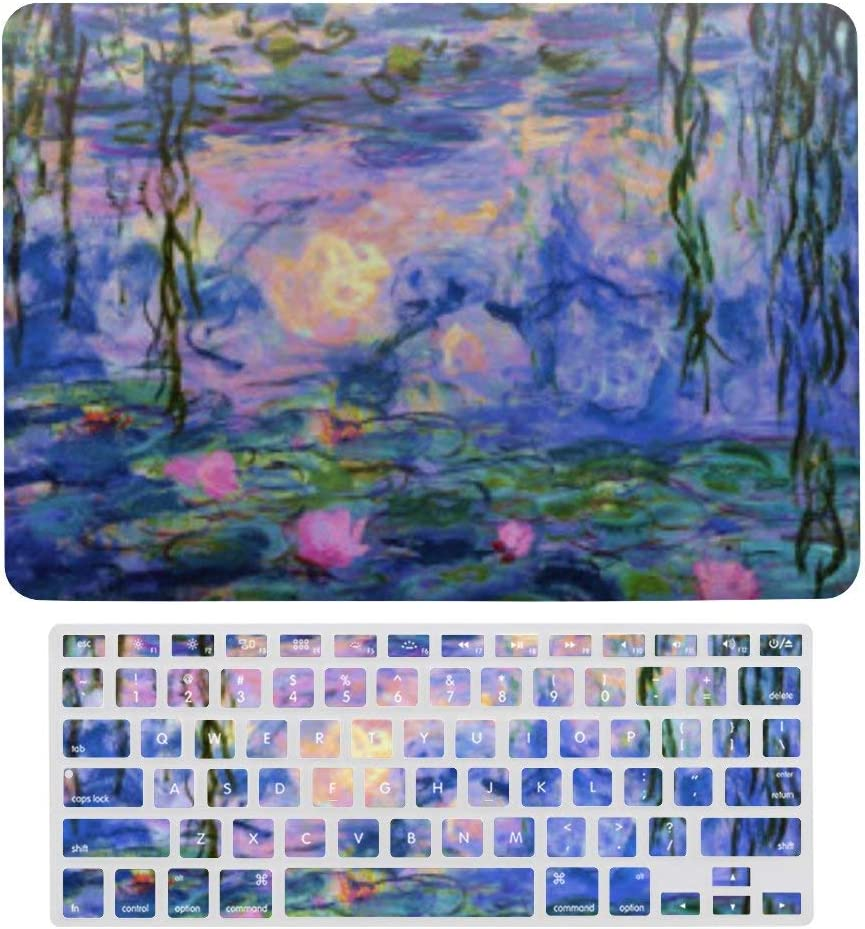 MacBook Air 13 Inch Case(A1369 & A1466, Older Version 2010-2017 Release), Plastic Hard Protective Laptop Case Shell with Keyboard Cover, Monet Water Lilies with Pond Reflections